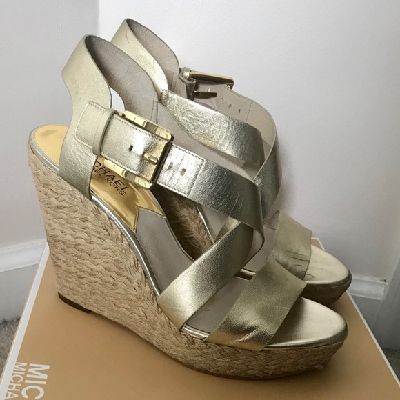 6b9e4501f86 Michael Kors Giovanna Gold Wedge
